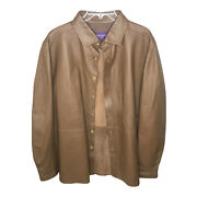 Purple Label Leather Jacket Lightweight Buttons Italy Size Xl Rare