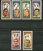 Manama 1971 Famous Footballers Set Of All 6 Commemorative Values Stamps Cto A