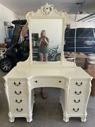 Antique Vanity Dressing Table With Mirror 1920's French Shabby Chic Prof Painted