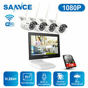 Sannce Wireless 1080p Security Camera System Audio Recording 1tb 4ch Nvr Monitor