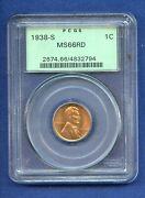 1938 S Pcgs Ms66rd Lincoln Wheat Cent 1c Penny Us Mint 1938-s Ms-66 Rd Ogh