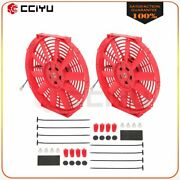 Universal Slim 2x 12 Pull Push Radiator Condenser Cooling Fan Assembly Red