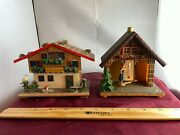 Vintage Swiss Chalet Savings Bank And Thermometer Lot Of 2