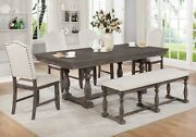 Beautiful Dining Room Set 6-pc Table Chairs Bench Wood Veneers Upholstered Seats
