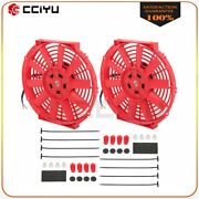 Universal Slim 2x 10 Pull Push Radiator Condenser Cooling Fan Assembly Red