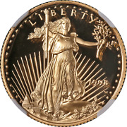 1998-w Gold American Eagle 10 Ngc Pf70 Ultra Cameo Brown Label - Stock