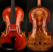 Master Antique Guarnerius Style Violin 4/4 One Piece European Wood Carved Castle