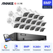 Annke 4k Video Security Camera System 8mp 16ch Dvr Ip67 Full Color Night Vision