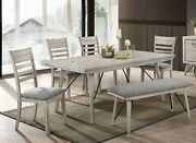Beautiful Elegant Design Wooden Dining Room Set 6pc Table Chair Bench Upholstery