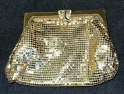 Antique 1920and039s Whiting And Davis Gold Gilded Mesh And Rhinestone Clutch Purse 2978