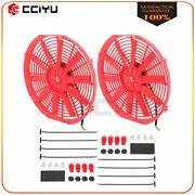Universal Slim 2x 14 Pull Push Radiator Condenser Cooling Fan Assembly Red