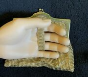 Vntg 1910and039s Whiting And Davis Black Label Gold Mesh Finger Clutch Purse With Strap