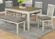 Beautiful Classic Design Wooden Dining Room 6pc Set Table Chair Bench Upholstery