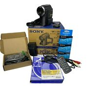 Sony Handycam Pc330 Mini-dv Tape Video Camera Manual Remote Chargers Cords Lot