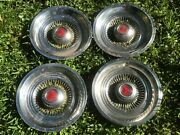 Vintage Chrysler Dodge Hubcaps Wheelcovers Red Reflector Center Cap Set Of 4