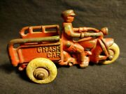 Antique 1930and039s Cast Iron Red Hubley Crash Car Solid Hard Rubber Wheels Axels