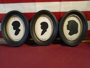 3 Disney Silhouette Pictures With Black Oval Frames Family Of 4
