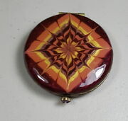 Jay Strongwater Enameled Double Mirror Compact Burgundy Small