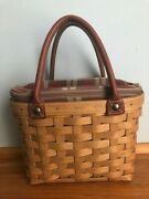 Longaberger 2003 Small Boardwalk Basket Purse With Liner And Protector