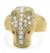 Amazing Custom Menand039s 18k Yellow Gold 1.00ctw Diamond Ring With 0.05ctw Ruby Eyes