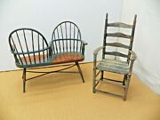 Vintage Doll Chairs Wooden Love Seat And High Back Chair Used