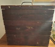 Antique Wooden Fishing Tackle Box 6 Drawer