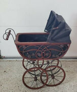 Antique Baby Doll Carriage Stroller Wicker Buggy Victorian In Good Condition