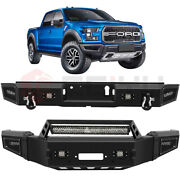 Front + Rear Bumper W/ Winch Plate Led Light Bar For 2018-2020 Ford F 150