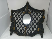 Antique Ornate Wrought Metal Hallway Wall Sconce Mirror Brass Candle Holder Hook