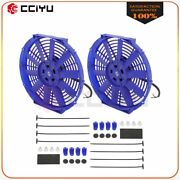 Universal Slim 2x 12 Pull Push Radiator Condenser Cooling Fan Assembly Blue