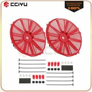 Universal Slim 2x 16 Pull Push Radiator Condenser Cooling Fan Assembly Red