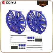 Universal Slim 2x 10 Pull Push Radiator Condenser Cooling Fan Assembly Blue