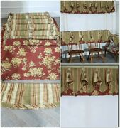 Luxury Curtains Linen Custom Floral Striped Tassels Green Red Quality 9pc Window