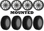Kit 4 Superatv Xt Warrior Sticky Tires 30x10-15 On System 3 St-5 Gray Wheels Can
