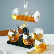 Boat Whiskey Decanter Bottle With 4 Glass Cup Beer Liquor Wine Dispenser 1000ml
