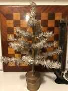 Vintage German White Natural Feather Tree With Gold Accents Gold Wood Base 16 In
