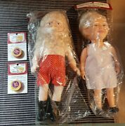 New Vintage Fibre Craft Santa And Mrs. Claus Music Box Dolls With Nos Music Boxes