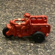 Vintage Harley Davidson Small Red Crash Car Cast Iron Motorcycle Toy Antique