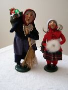 Byers' Choice Carolers 1994 Old Befana Christmas Witch, And 1992 Ice Skating Girl