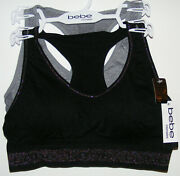 Bebe 2 Pack Seamless Bras Bralette Size M Wire-free Removable Pads Racer Back