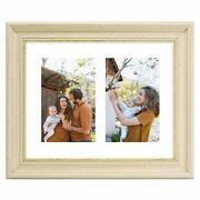 8x10 Sonora Cream Color Collage Frame Real Glass And White Mat 2 4x6 Pictures