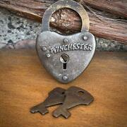 Winchester Heart Solid Brass And Steel Lock With Keys
