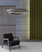Contemporary Mid Modern Tech 2 Tier Round Ring 36 Led Chandelier Wood Black