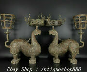 21warring States Period Bronze Ware Dragon Beast Candle Holder Candlestick Pair