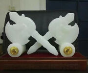 11 Natural White Jade Carving Dragon Head Ax Armament Weapon Weaponry Pair