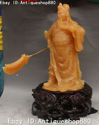 Chinese Hand Carved Natural Yellow Jade Guan Gong Warrior God Broadsword Statue