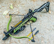 80lbs Hunting Self Cocking Pistol Crossbow 225+ Fps Grip Bow Military Green New