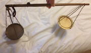 Antique Hand Held Chinese Herb Doctorand039s Scale 19 1/2 Long Rod W/ Brass Pan