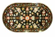 3and039x2and039 Black Marble Coffee Table Top Inlay Pietra Dura Antique Home Decor K2