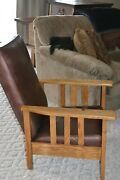 Arts And And Crafts Reclining Leather Chair Mission Craftsman Wood Morris Antique